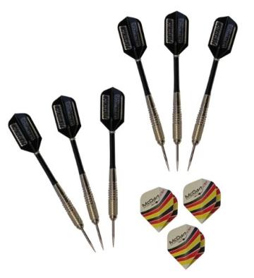 6 Stück McDart Steeldarts + 1 Satz McDart®Flights - 1