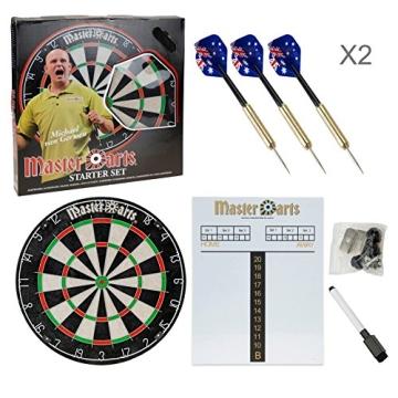 Darts Dartscheibe 4tlg. Michael van Gerwen Starter-Set 6 Steeldarts Dartboard - 2