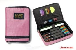 Darttasche LADY PAK, Farbe rosa strapazierfähige Nylon-Tasche für 1-2 Sets montierter Darts und zusätzlichen Fächern für Flys und Ersatzschäfte. (ohne Inhalt) - 1