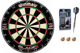 Phil Taylor 22g Silverlight Darts + Winmau Blade 4 Dartboard + McDart®Flights - 1