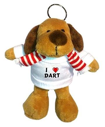 Plüsch Hündchen Schlüsselhalter mit T-shirt mit Aufschrift Ich liebe Dart (Vorname/Zuname/Spitzname) - 1