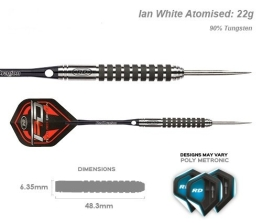 Red Dragon Ian 'Diamond' White Atomised - 22g - 90% Tungsten Darts (Steel Dartpfeile) mit Flights, Schäfte, Brieftasche & FREE Red Dragon Checkout Card - 1